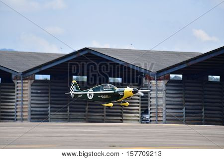 CHONBURI - NOVEMBER 20 : Justin Phillipson pilot of USA with Shoestring aircraft in Air Race 1 Thailand at U-Tapao International Airport on November 20 2016 in Chonburi Thailand.