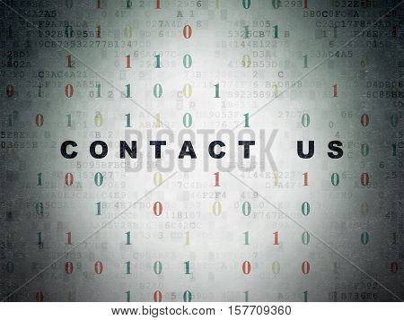 Business concept: Painted black text Contact us on Digital Data Paper background with Binary Code