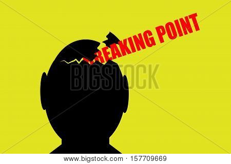Breaking point. Black broken head on yellow background with text breaking point.