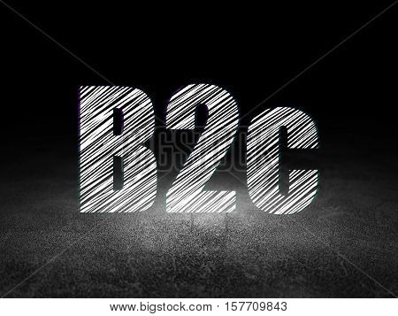 Finance concept: Glowing text B2c in grunge dark room with Dirty Floor, black background