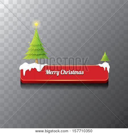 Christmas vector red glossy button with green cartoon christmas tree and christmas lights. web red christmas button with snow, ice border and transparent shadow