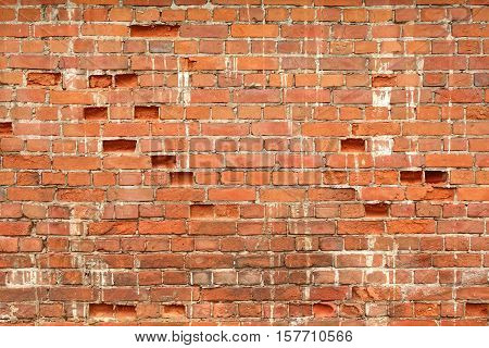 Distressed Old Red Brick Clay Wall With Hole. Texture Background