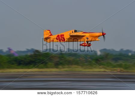 CHONBURI - NOVEMBER 20 : Justin Meaders pilot of USA with Quadnickel aircraft in Air Race 1 Thailand at U-Tapao International Airport on November 20 2016 in Chonburi Thailand.