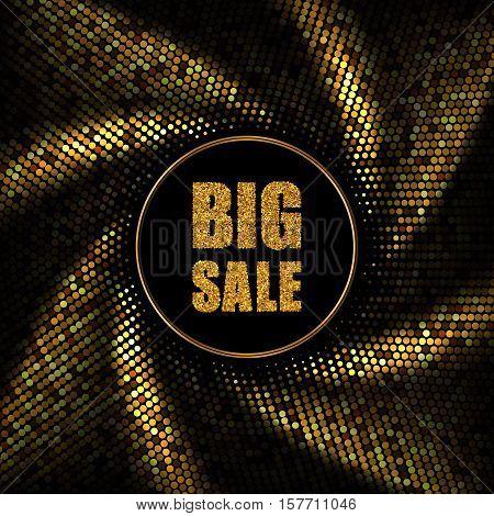 Big Sale Banner, Swirl effect, Gold halftone background, Vector illustration