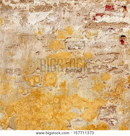 Shabby Brick Wall With Yellow Plaster Frame Square Background Texture