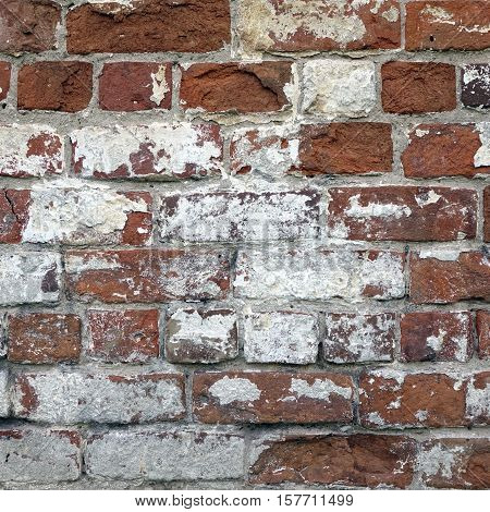 Red Brick Wall With  Shabby White Plaster Rectangular Background Texture