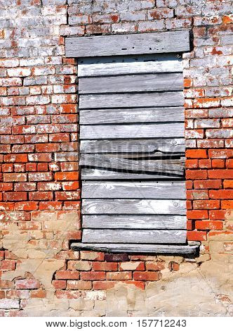 Background image shows an old brick building smeared with mortar. Lone window is boarded up with white washed and weathered boards.