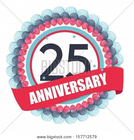 Cute Template 25 Years Anniversary with Balloons and Ribbon Vector Illustration EPS10