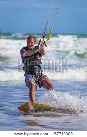 Wan Riding Kite Surf On Sea Waves