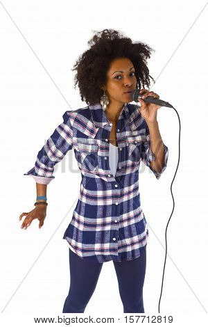Beautiful african american woman karaoke singer - isolated on white background