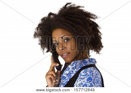 African american woman on the phone - isolated on white background