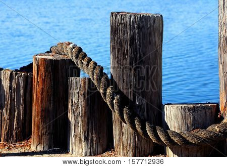Dock pilings in varying heights form barrier between land and sea. Thick twisted rope lays across wooden fence.