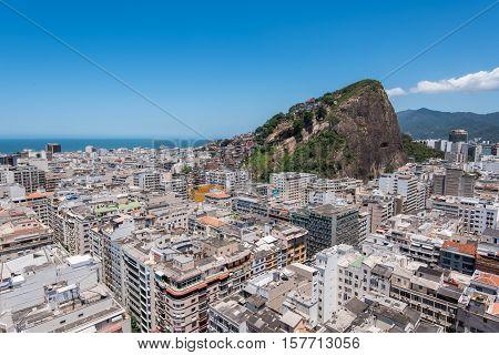Aerial view of Copacabana district with Cantagalo slum on the mountain in Rio de Janeiro, Brazil