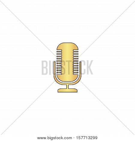 Microphone Gold vector icon with black contour line. Flat computer symbol
