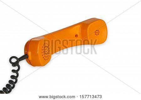 Retro telephone receiver isolated on white background