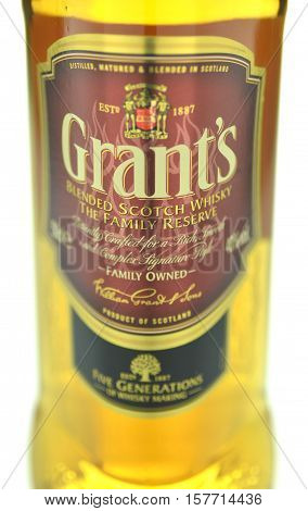 CIRCA NOVEMBER 2016 - GDANSK: Grants blended whiskey isolated on white background. Grants has been produced by William Grant and sons in Scotland since 1887