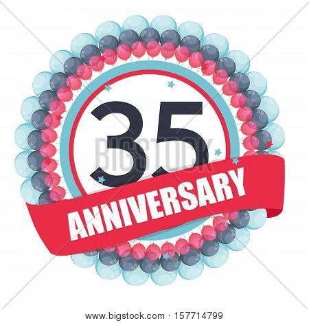 Cute Template 35 Years Anniversary with Balloons and Ribbon Vector Illustration EPS10