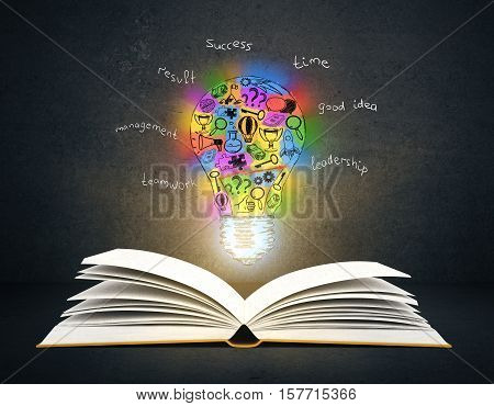 Open book with colorful lamp sketch on dark background. Creative idea concept. 3D Rendering