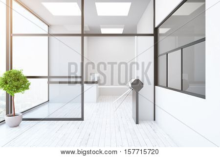 Contemporary Interior With Turnstile And Reception