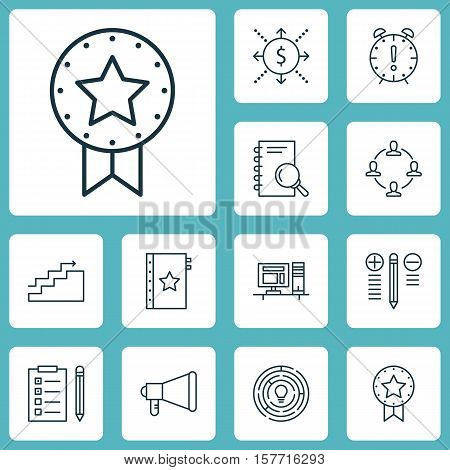 Set Of Project Management Icons On Time Management, Reminder And Analysis Topics. Editable Vector Il