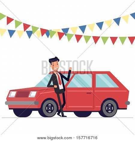 Seller is leaning on the car. Businessman next to the machine. Garland of flags. Vector, illustration EPS10
