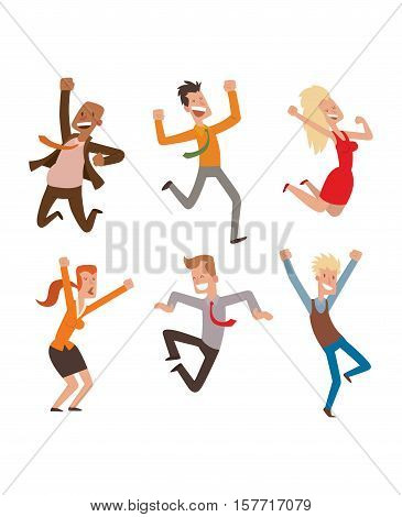 People jumping in celebration party vector illustration. Happy man jump celebration joy character. Cheerful woman active happiness expression vector set. Many joyful friends portrait.