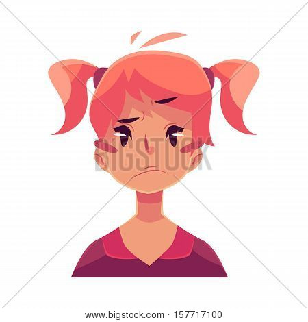 Teen girl face, upset, confused facial expression, cartoon vector illustrations isolated on white background. Red-haired girl emoji face, concerned, confused frustrated.