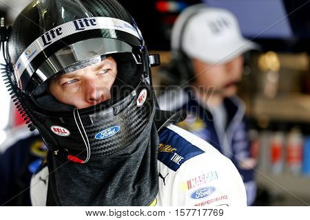 Homestead, FL - Nov 19, 2016: Brad Keselowski (2) hangs out in the garage during practice for the Ford EcoBoost 400 at the Homestead-Miami Speedway in Homestead, FL.