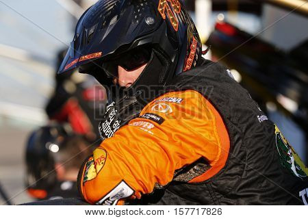Homestead, FL - Nov 20, 2016: The crew of Martin Truex Jr. (78) works on pit road during the Ford EcoBoost 400 at the Homestead-Miami Speedway in Homestead, FL.