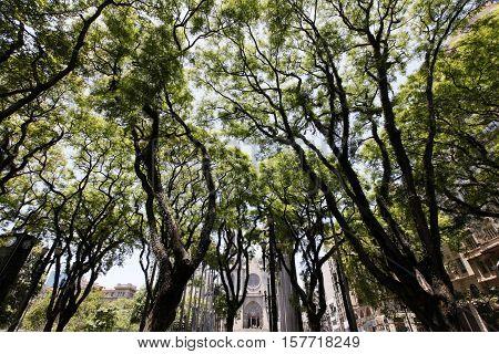 square of se in downown ground zero of sao paulo city