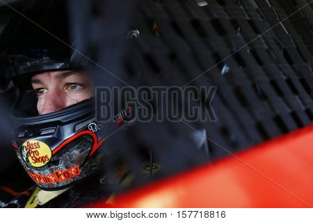 Homestead, FL - Nov 18, 2016: Martin Truex Jr. (78) hangs out in the garage during practice for the Ford EcoBoost 400 at the Homestead-Miami Speedway in Homestead, FL.