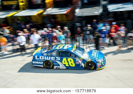 Homestead, FL - Nov 19, 2016: Jimmie Johnson drives the #48 Lowe's Chevy onto the track  during the Ford EcoBoost 400 weekend at the Homestead-Miami Speedway in Homestead, FL.
