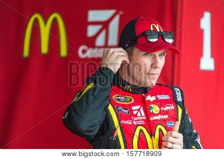 Homestead, FL - Nov 19, 2016: Jamie McMurray, driver of the #1 McDonald's Chevy, gets ready for action  during the Ford EcoBoost 400 weekend at the Homestead-Miami Speedway in Homestead, FL.