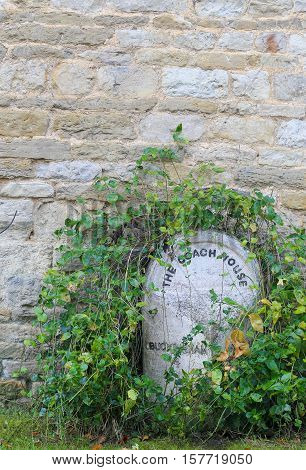 The Coach House Buckingham Stone Overgrown With Green Leaves Vines With Stone Wall