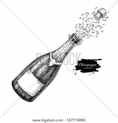 Champagne bottle explosion. Hand drawn isolated vector illustration. Alcohol drink splash with bublles. Vintage sketch. Beverage drawing for bar and restaurant menu, poster, banner. Celebration concept