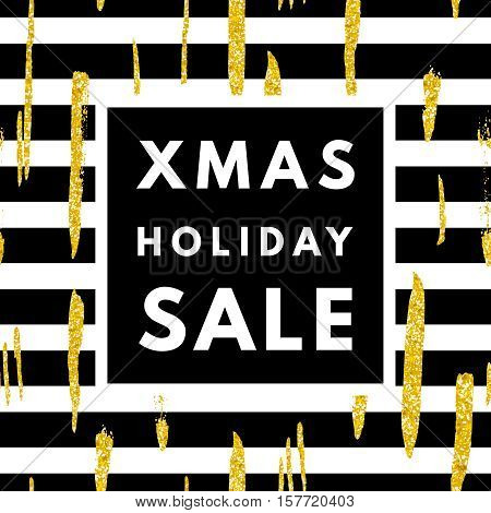 Christmas holiday sale poster. Minimalism trendy shopping banner. Vector discount card.