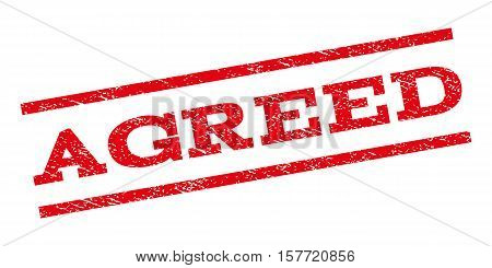 Agreed watermark stamp. Text caption between parallel lines with grunge design style. Rubber seal stamp with dirty texture. Vector red color ink imprint on a white background.