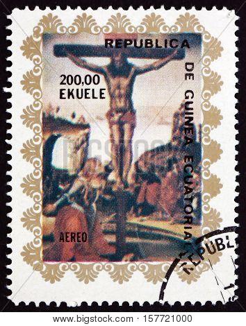 EQUATORIAL GUINEA - CIRCA 1972: a stamp printed in Equatorial Guinea shows Crucifixion circa 1972