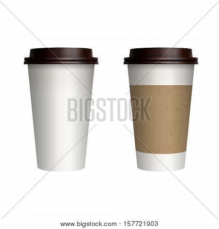 Take-out coffee with brown cap and cup holder. Isolated on white background. Vector Illustration.