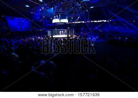 NOVI SAD SERBIA - NOVEMBER 05 2016 : MMA - SBC FIGHT TURNAMENT. CROWD IN TURNAMENT ARENA EXTREME SPORT. FIGHT NIGHT PROFESIONAL ATHLETES NOVEMBER 05 2016 NOVI SAD SERBIA