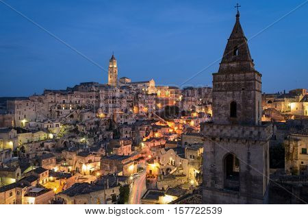 Matera high definition view of Sasso Barisano at twilight