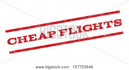 Cheap Flights watermark stamp. Text tag between parallel lines with grunge design style. Rubber seal stamp with dirty texture. Vector red color ink imprint on a white background.