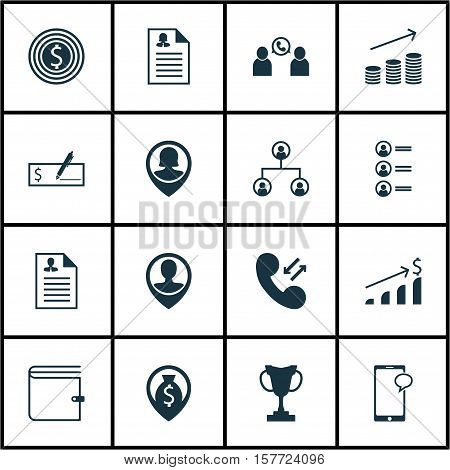 Set Of Management Icons On Wallet, Successful Investment And Female Application Topics. Editable Vec