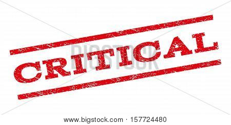 Critical watermark stamp. Text tag between parallel lines with grunge design style. Rubber seal stamp with unclean texture. Vector red color ink imprint on a white background.