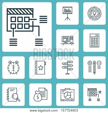 Set Of Project Management Icons On Schedule, Analysis And Computer Topics. Editable Vector Illustrat
