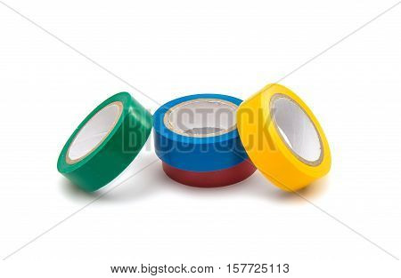 colored insulating tape isolated on white background