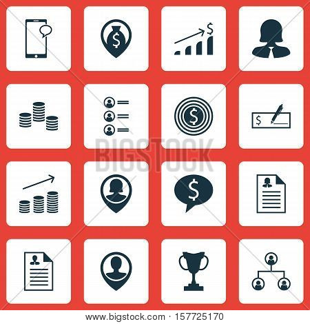 Set Of Hr Icons On Female Application, Money And Successful Investment Topics. Editable Vector Illus