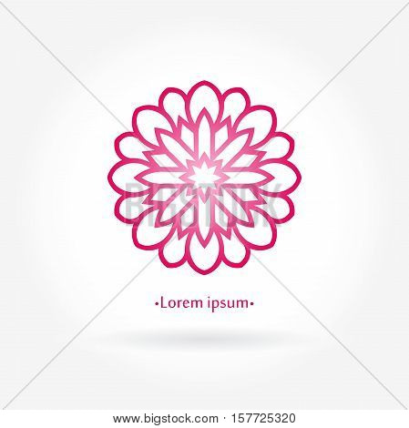 Flower pink logo. The circular logo. Logo with rose. Logo of the flower. Stylized flower logo. Simple logo. The brand name, emblem, logo. Mandala Logo boutique. Vintage. Islam, Arabic, Indian, ottoman