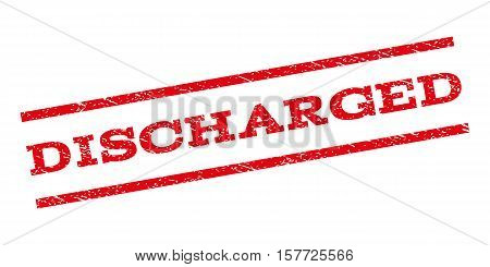 Discharged watermark stamp. Text caption between parallel lines with grunge design style. Rubber seal stamp with dust texture. Vector red color ink imprint on a white background.