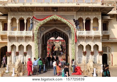JAIPUR, INDIA - FEBRUARY 16: City Palace, a palace complex in Jaipur, Rajasthan, India. It was the seat of the Maharaja of Jaipur, the head of the Kachwaha Rajput clan, on February 16, 2016.